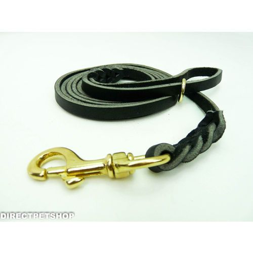 Dog Lead Deluxe 2m English Leather Solid Brass Clip & Bag Ring-Brown or Black