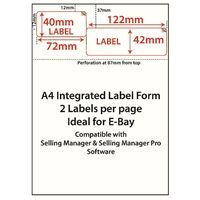 500 EBAY INTEGRATED A4 POST ADDRESS PRINTING LABEL & PACKING SLIP. SELF ADHESIVE