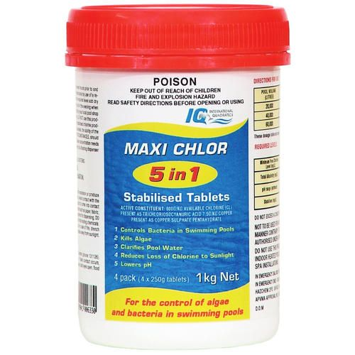 Maxi Chlor 5 in 1 Stabilised Pool Chlorine Tablets 4 x 250g Tablets 1KG