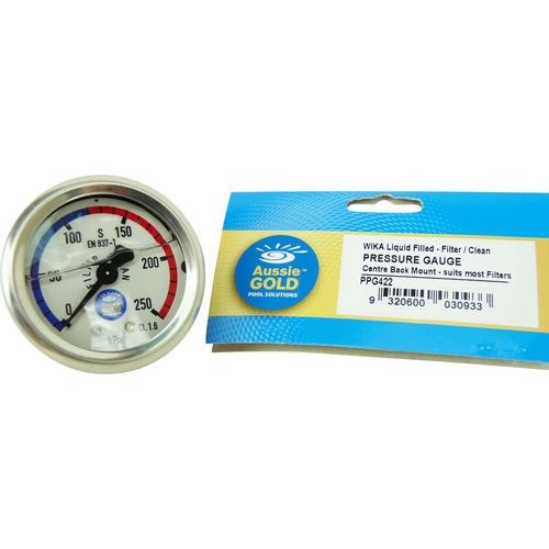 New Pool Filter Gauge Back Rear Mount Aussie Gold Wika S/S  - Sand & Cartridge Filters